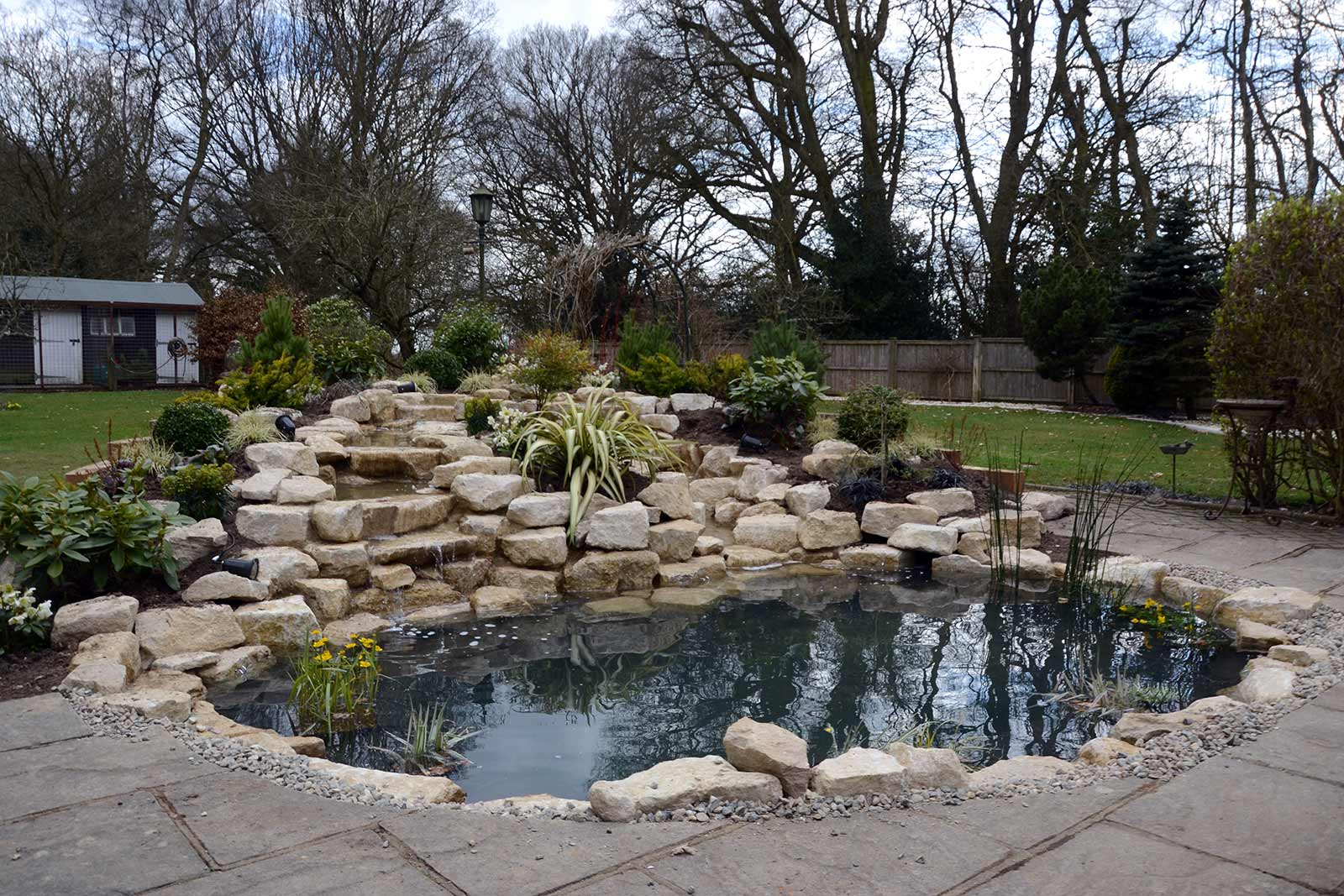 planting schemes, aquatic plants, rockery, waterfall