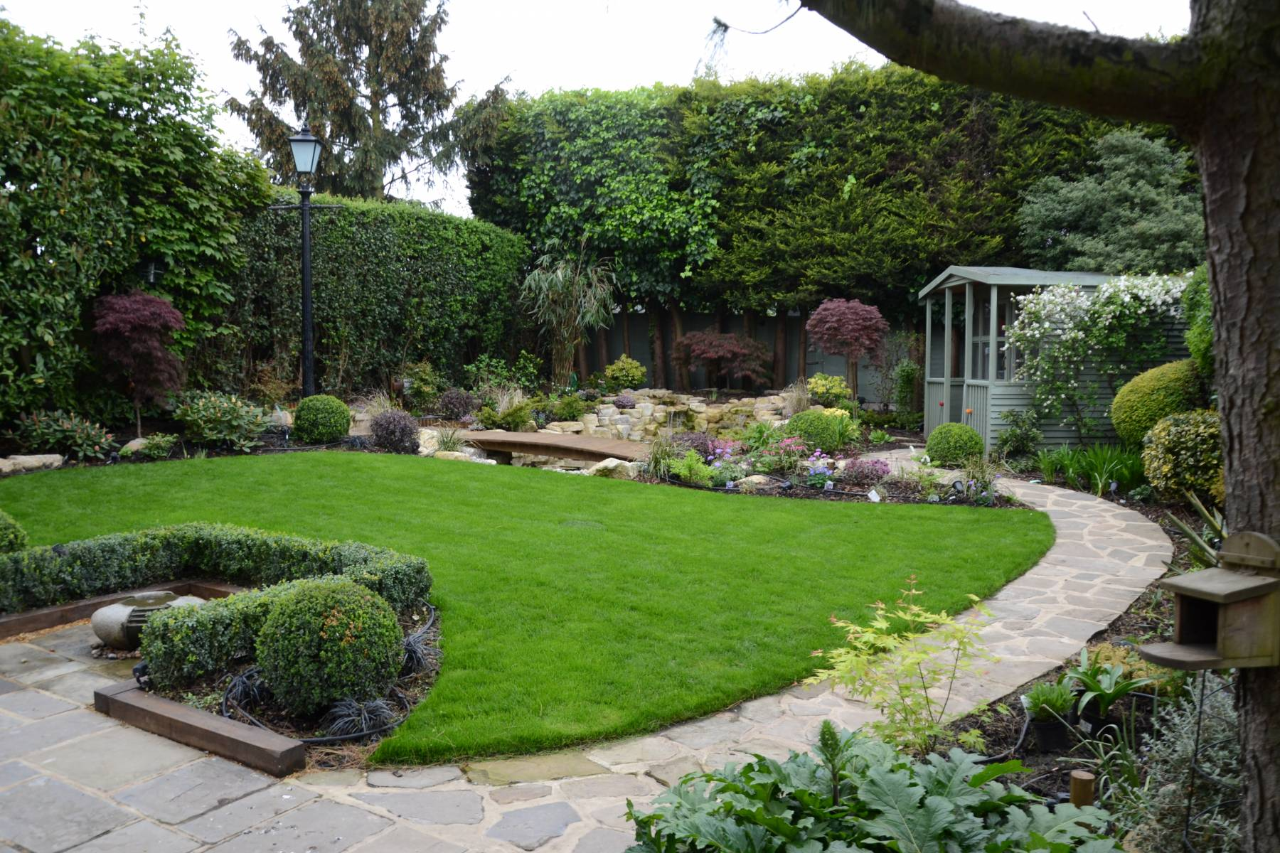 full garden landscape, planting sheme pond, rockery,waterfall