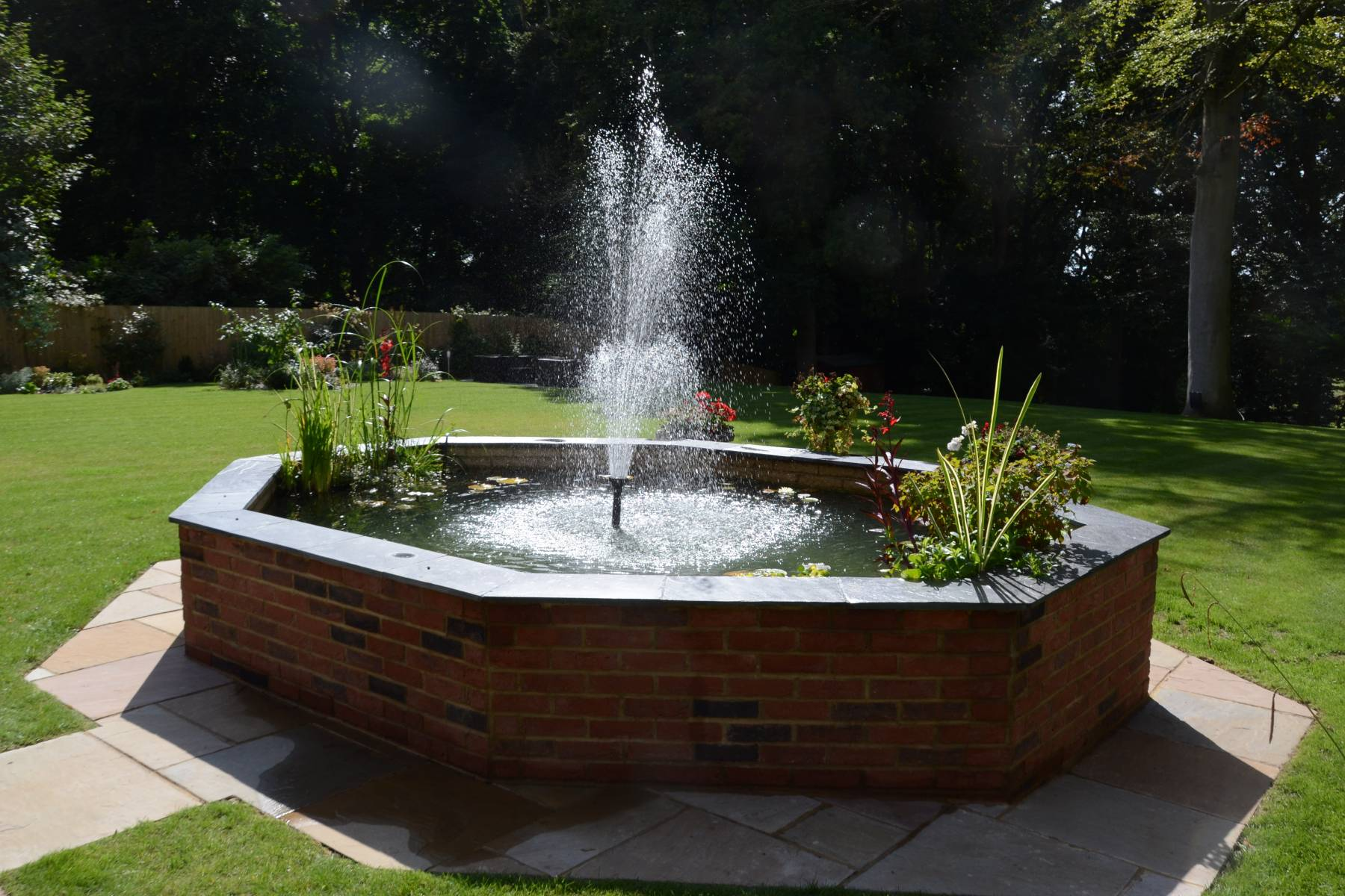raised brick garden pond