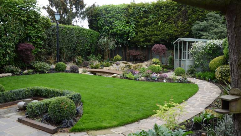 Full Garden Landscaping with Pond and Planting Scheme