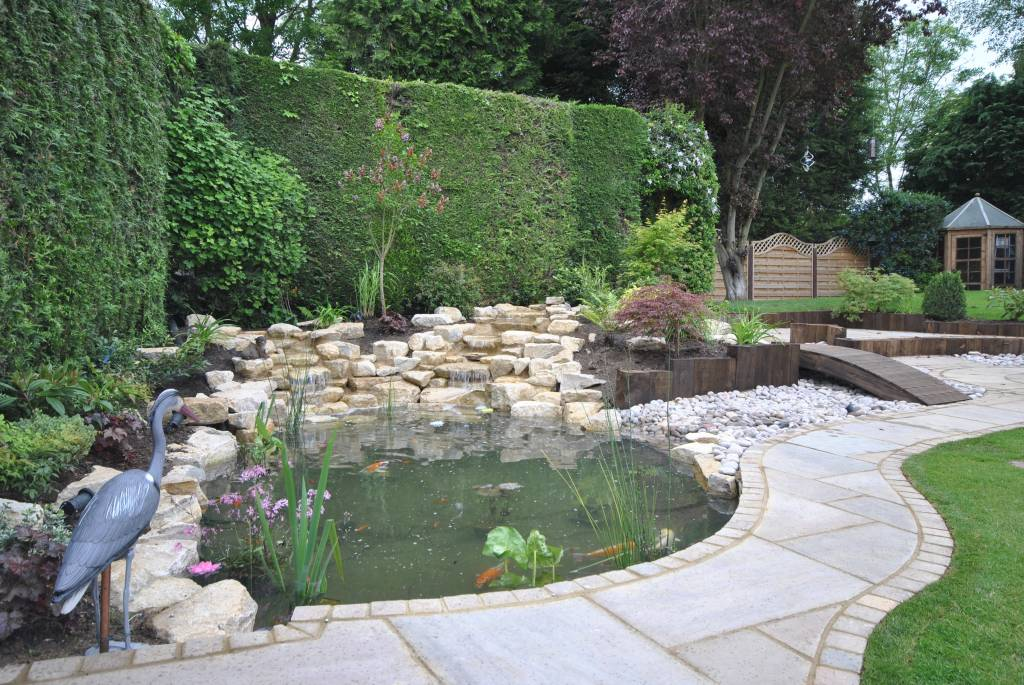 pond, rockery, landscaping