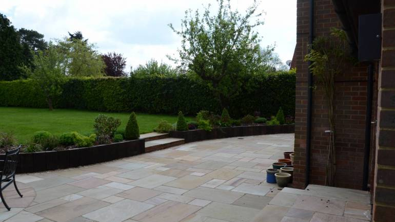 Large Patio and Planting Scheme