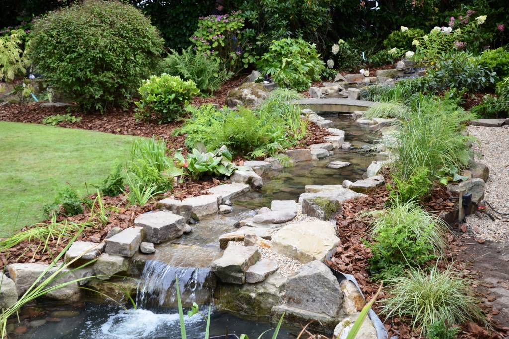 pond waterfall rockery garden design
