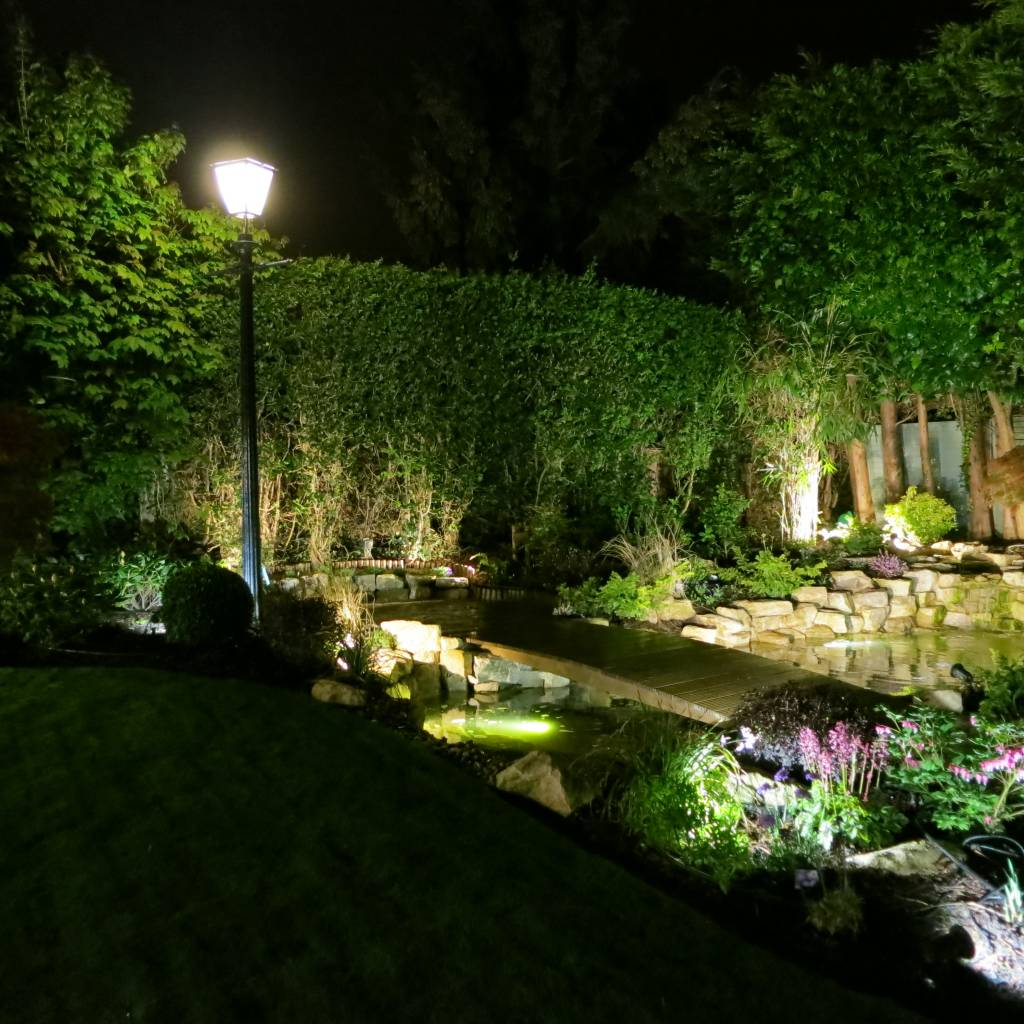 landscaping ponds planting garden lighting