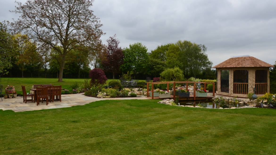 A New Landscape Project with Pond and Bridge